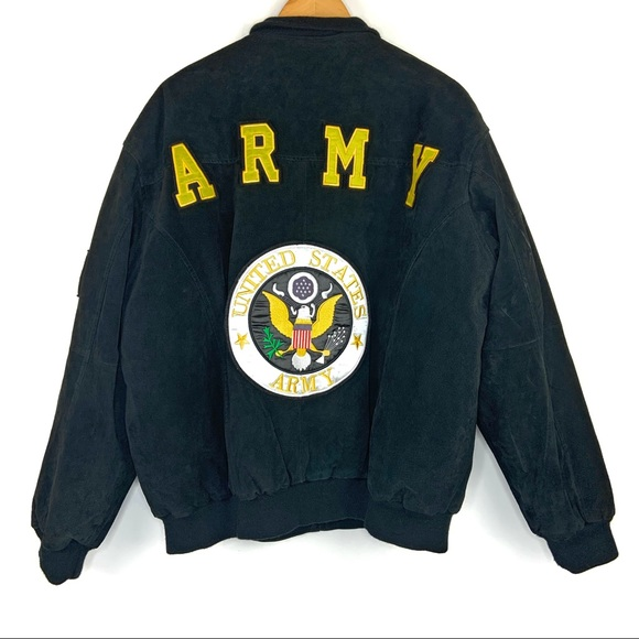 Other - Black Army Suede Zip Front Jacket